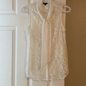 RW&CO - White Sleeveless Lace Neck-Tie Blouse